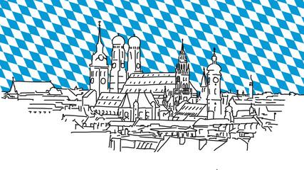 Über den Dächern von München mit bayerischer Flagge