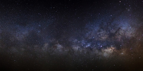 Panorama Milky Way Galaxy,Long exposure photograph, with grain