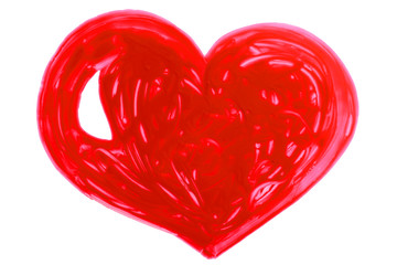 Red heart, child's drawing isolated in white background