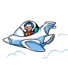 Airplane amaze pilot sky cartoon illustration