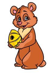 Brown bear beehive honey cartoon illustration image animal character