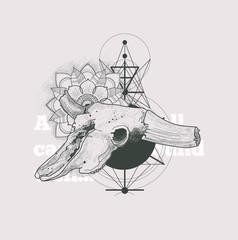 Dotwork animal skull with modern street style attributes. Grunge print template. Vector art.