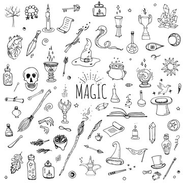 Hand drawn doodle Magic set Vector illustration wizardy, witchcraft symbols Isolated icons collections Cartoon sorcery concept elements Magic wand Love potion Fairy book Fairy tale Snake Crystal ball
