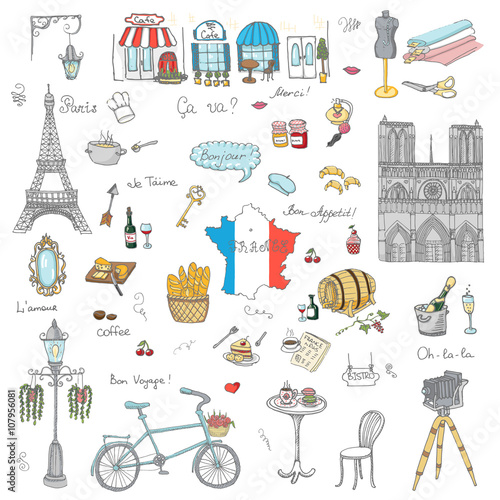 Set Of Hand Drawn French Icons Paris Sketch Vector Illustration