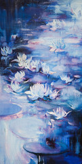 oil painting on a water lily in a pond with colorful leafs and bright blossom.