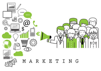 Marketing Team-On White Background-Vector Illustration,Graphic Design.Business Content For Web,Websites,Magazine Page,Print,Presentation Templates And Promotional Materials.Businesspeople Thin Line