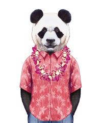 Portrait of Panda in summer shirt with Hawaiian Lei. Hand-drawn illustration, digitally colored.