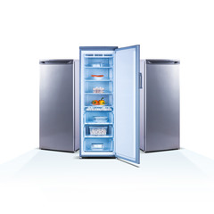 Three freezers on white background, open, front view, with food, isolated on white, shine grey metallic