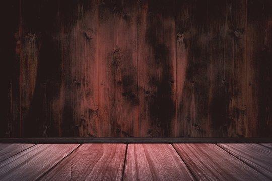 Composite image of high angle view of hardwood floor