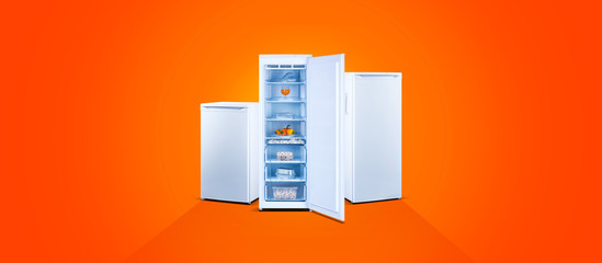 Three freezers with fresh food, open door, white steel, orange background
