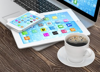 Laptop, phone and tablet pc. 3d rendering.