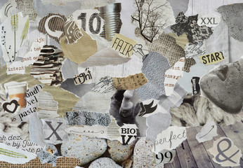 Natural Atmosphere mood board collage sheet in color grey, yellow, brown,ECRU, white and black made of teared magazine paper with figures, letters,and textures, results in art
