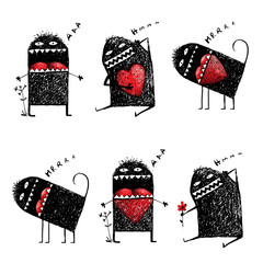 Character Ugly Eccentric Monster in Love with Red Heart Sketchy