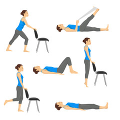 Body workout exercise fitness training set. Knee exercises