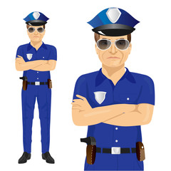 Handsome middle-aged police officer with arms folded