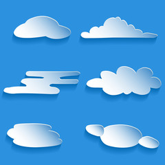 set of cartoon clouds of different styles on gradient background