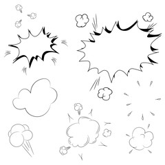 Set of pop art comic speeches vector illustration. Decorative set of icons with bomb explosive in the pop art style.