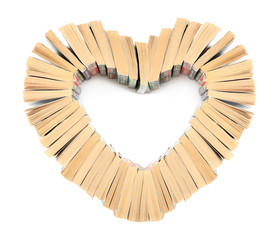 The heart of books isolated in white