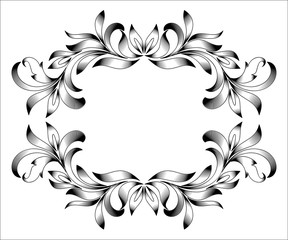 Vintage border frame engraving with retro ornament pattern in antique floral style decorative design