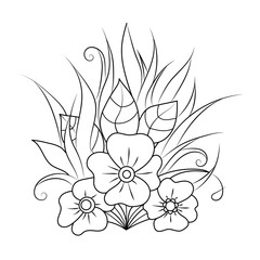 Hand-drawn design element. Zentangle floral pattern. Doodle art flowers.