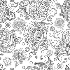 Vector Seamless Monochrome Floral Pattern. Hand Drawn Floral