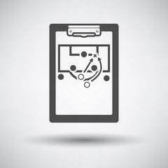 Soccer coach tablet with scheme of game icon