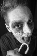 portrait of a man halloween horror make-up emotions