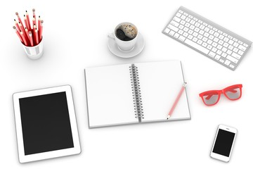 laptop and office stuff, workplace, top view, 3D rendering