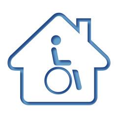 Logo maison et personne handicapée.