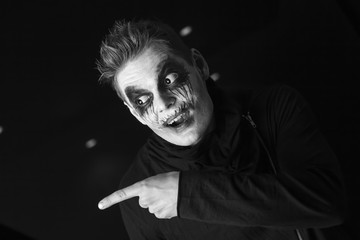 portrait of a man halloween horror make-up emotions
