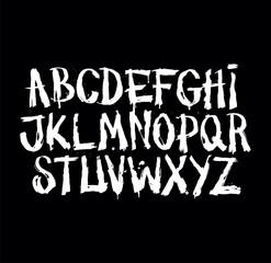 Hand drawn grunge font. Detailed vector alphabet
