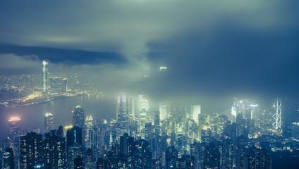 Urban fog View of Hong Kong from Victoria peak