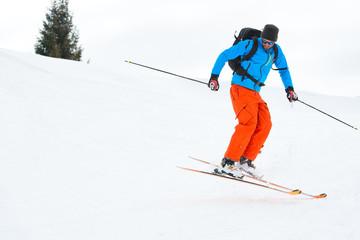 Skier jump downhill