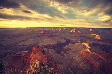 Vintage toned sunset over Grand Canyon.