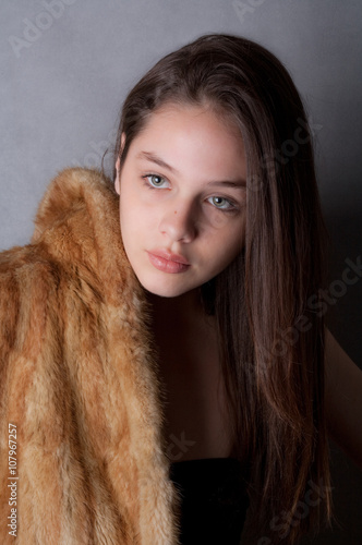 Teen model with fur coat stock photo and royalty free - Traumzimmer fur teenager ...