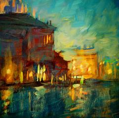Wenecja kanał nocny, obraz olejny na płótnie, ilustracja