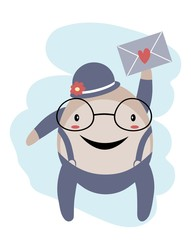 Happy Humpty Dumpty with envelope over blue sky