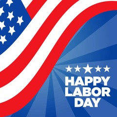 Blue Happy Labor Day Vector With Half of American Flag