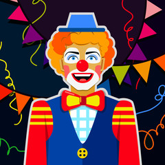 Smiling funny clown with hat and colorful ribbons.
