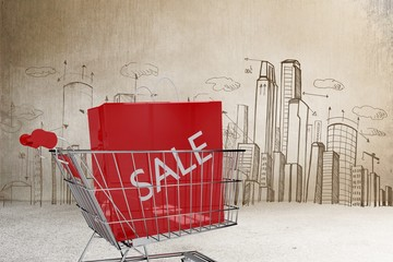 Composite image of trolley with sale shopping bag