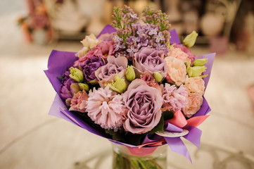 beautiful white, pink, purple flower romantic bouquet