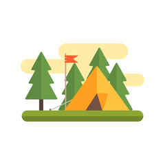 Tent In Woods Illustration