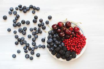 Berries flat lay.