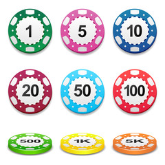 Gambling casino poker stack chips color sign