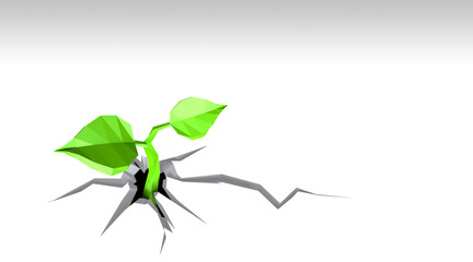 Ecology concept. Sprout has grows through the white background, low poly, isolated on white background