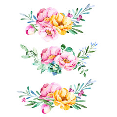 Colorful floral collection with roses,flowers,leaves,succulent plant,branches and more.3 beautiful bouquet for your own design.Lovely Bouquet collection.Perfect for wedding,invitations,template cards