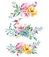 Colorful floral collection with roses,flowers,leaves,succulent plant,branches,hummingbird and more.3 beautiful bouquet for your own design.Lovely Bouquet collection.Perfect for wedding,invitations etc