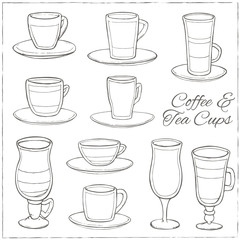 Set of Coffee and Tea Cups. Decorative icons set.