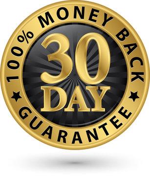 30 day 100% money back guarantee golden sign, vector illustratio