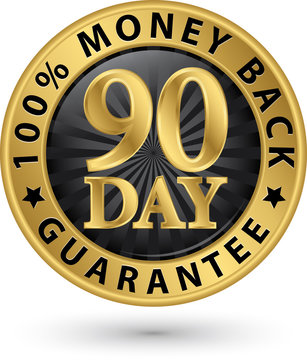 90 day 100%  money back guarantee golden sign, vector illustrati